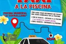 Cartel campaña para subir a la piscina en taxi