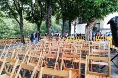 Plaza los Tilos vacía por la lluvia